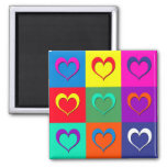 Pop art hearts 2 inch square magnet