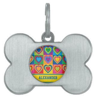 Pop Art Hearts Pet Name Tag