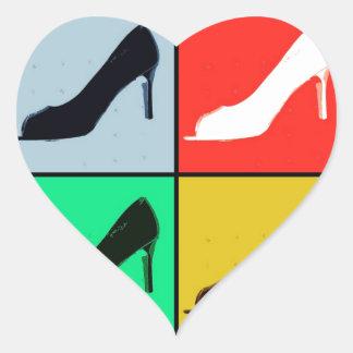 Pop Art High Heel Pumps Heart Sticker