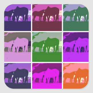 Pop Art Horses Square Sticker