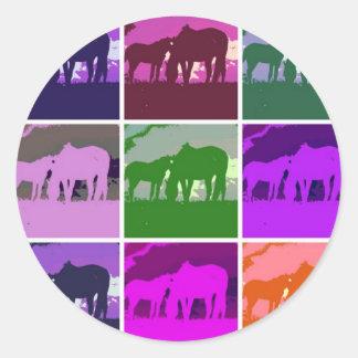 Pop Art Horses Round Stickers