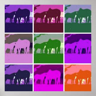 Pop Art Horses & Sunset Artwork Poster