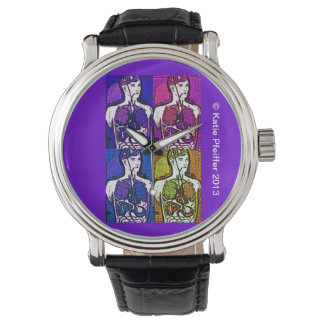 Pop Art Human Body Anatomy Diagram Wrist Watch