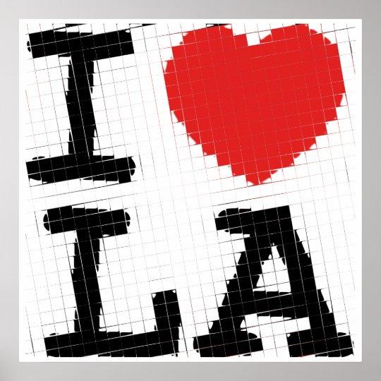 Pop art I love Los Angeles (glass tiles) Poster