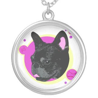 Pop Art Inspired French Bulldog Illustration Round Pendant Necklace