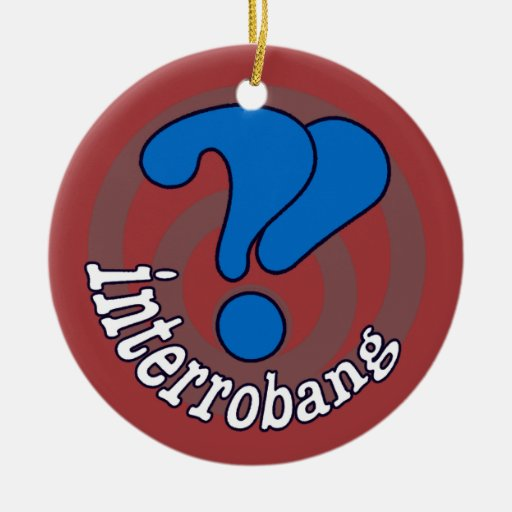 Pop Art Interrobang (Red) Double-Sided Ceramic Round Christmas Ornament