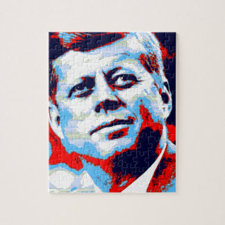 Pop Art JFK John F. Kennedy Red Blue Jigsaw Puzzle