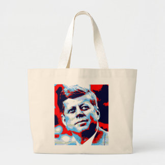Pop Art JFK John F. Kennedy Red Blue Large Tote Bag