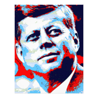 Pop Art JFK John F. Kennedy Red Blue Letterhead