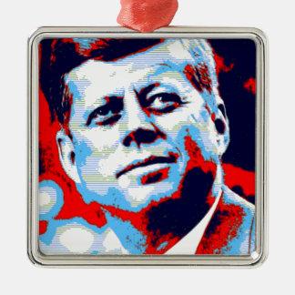Pop Art JFK John F. Kennedy Red Blue Metal Ornament