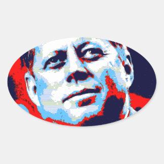 Pop Art JFK John F. Kennedy Red Blue Oval Sticker