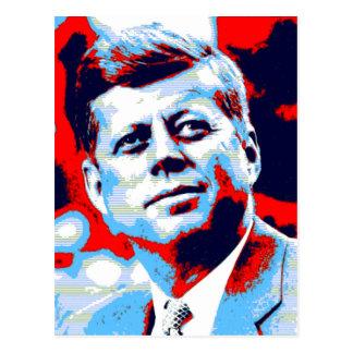 Pop Art JFK John F. Kennedy Red Blue Postcard