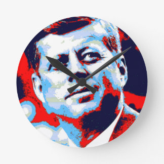 Pop Art JFK John F. Kennedy Red Blue Round Clock