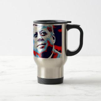 Pop Art JFK John F. Kennedy Red Blue Travel Mug