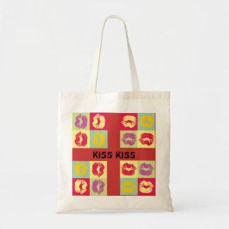 pop art kiss budget tote bag