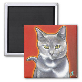 Pop Art Kitty Magnent 2 Inch Square Magnet