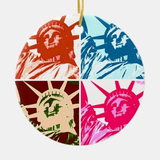 Pop Art Lady Liberty Christmas Ornaments