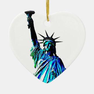 Pop Art Lady Liberty Double-Sided Heart Ceramic Christmas Ornament