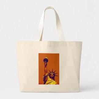 Pop Art Lady Liberty Large Tote Bag
