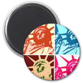 Pop Art Lady Liberty New York City 2 Inch Round Magnet