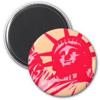 Pop Art Lady Liberty New York City 2 Inch Round Magnet