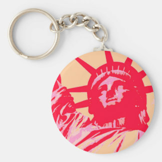 Pop Art Lady Liberty New York City Key Chain
