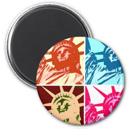 Pop Art Lady Liberty New York City Fridge Magnet