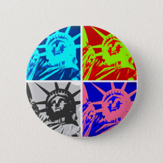 Pop Art Lady Liberty New York City Pinback Button