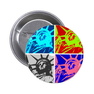 Pop Art Lady Liberty New York City Pinback Button