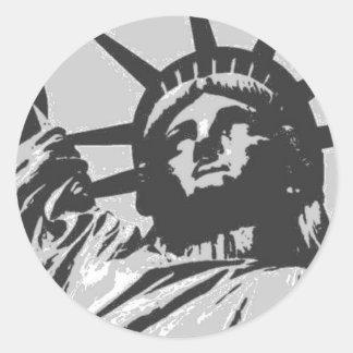 Pop Art Lady Liberty New York City Round Stickers
