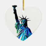 Pop Art Lady Liberty Double-Sided Heart Ceramic Christmas Ornament