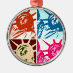 Pop Art Lady Liberty Round Metal Christmas Ornament