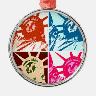 Pop Art Lady Liberty Round Metal Christmas Ornament