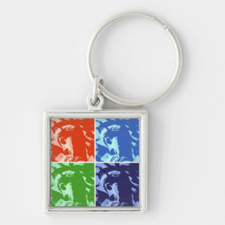Pop Art Lady Liberty Silver-Colored Square Keychain