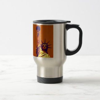Pop Art Lady Liberty Travel Mug