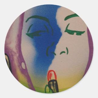 Pop Art Lady with Lipstick Classic Round Sticker