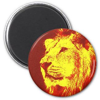Pop Art Lion 2 Inch Round Magnet