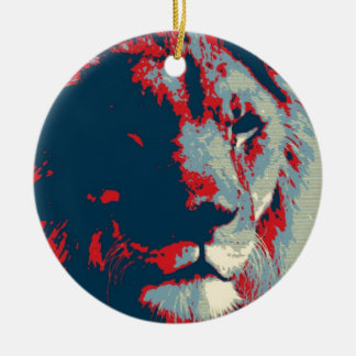 Pop Art Lion Ceramic Ornament