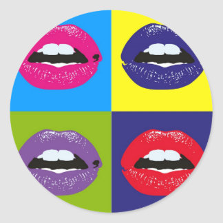 Pop Art Lips Pattern Deisgn Classic Round Sticker