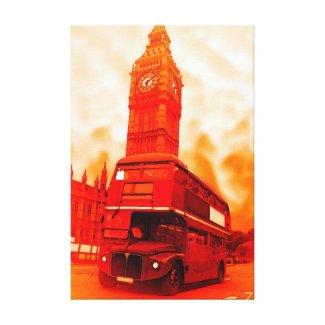 Pop Art London Bus Big Ben Red Orange Yellow