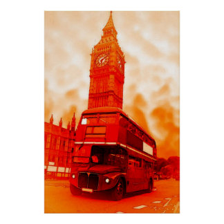 Pop Art London Bus Big Ben Red Orange Yellow Poster