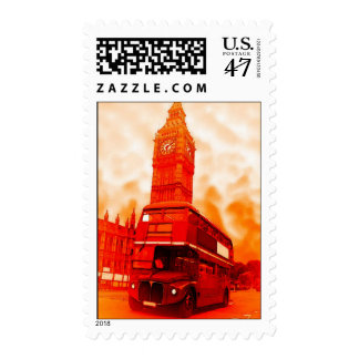 Pop Art London Red Bus Big Ben Postage