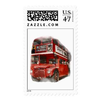 Pop Art London Red Bus Big Ben Postage Stamp