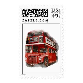 Pop Art London Red Bus Big Ben Stamp