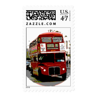 Pop Art London Red Bus Postage Stamp