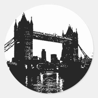 Pop Art London Tower Bridge Classic Round Sticker