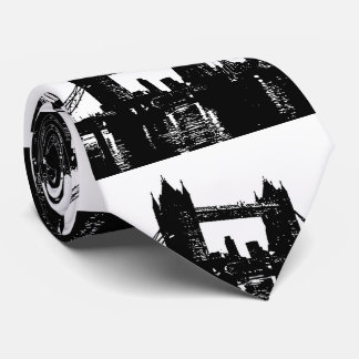 Pop Art London Tower Bridge Silhouette Neck Tie