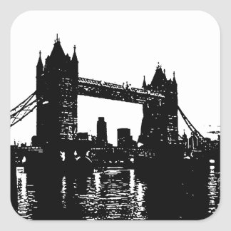 Pop Art London Tower Bridge Square Sticker