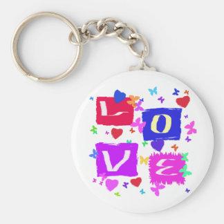 Pop Art Love Design Basic Round Button Keychain