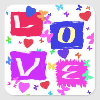 Pop Art Love Design Square Sticker